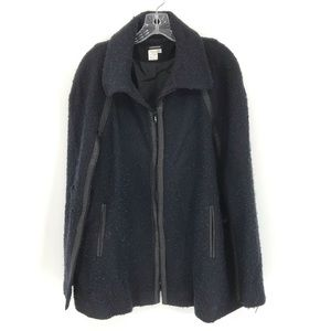 Conspicuous Poncho Jacket Coat Navy Tweed Pockets